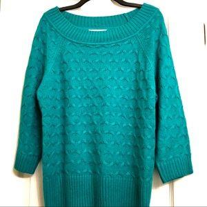 Teal Sweater Three-Quarter Length Sleeves, PXL
